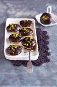 Polenta baci with ricotta and chocolate glaze