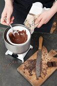 A mini Sacher Bundt cake being made: chocolate being melted
