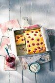 Tray bake raspberry cheesecake