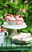 Strawberry cupcakes on a cake stand