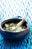 Cold chicken soup with coconut and lemon