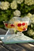 Peach and raspberry punch with champagne