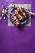 A honey cake tray bake with chocolate glaze