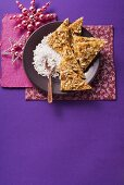 Krachkuchen - tray bake made with coarse sugar and almonds
