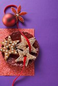 Star shaped garland biscuits