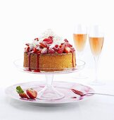 Coconut and lime cake with strawberries and raspberries