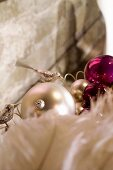Christmas tree baubles and ostrich feathers
