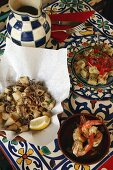 Tapas: fried squid, tortilla and prawns
