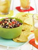 Bowl of Black Bean Salsa with Corn Chips