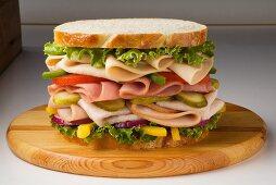 Large Chicken, Ham and Turkey Sandwich with Veggies on White Bread