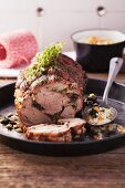 Veal roulade with barley risotto