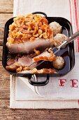 Roast pork with crackling and bread dumplings