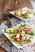Chicory boats with avocado and bacon