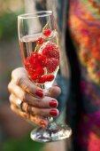 Frauenhand hält ein Glas Sekt mit Beeren