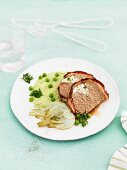 Meatloaf with fennel and mushy peas