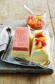Blood orange sorbet with vanilla ice cream and lime sorbet with vanilla ice cream
