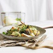Fried pork with fennel and garlic