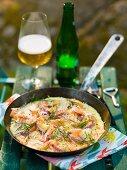 A potato, salmon and onion omelette