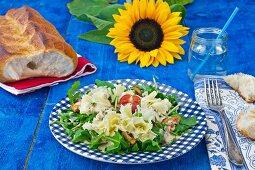 Rocket salad with tete de moine, chanterelle mushrooms and white bread