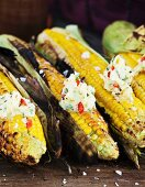 Grilled corn cobs with chilli and coriander butter