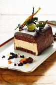Chestnut cake with glazed with chocolate