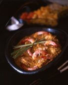 Indian fish curry with prawns
