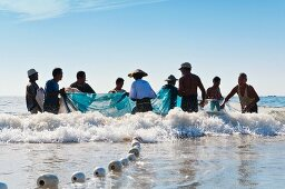 Burmans fishing for mini prawns