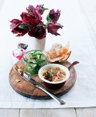 Potted shrimps from Morecambe, Melba toast and cucumber salad (England)