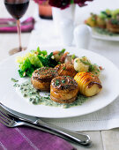 Thick lamb flanks with a herb and caper sauce