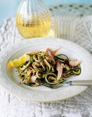 Smoked trout with courgette strips