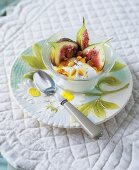 Figs with Greek yogurt, honey and pine nuts