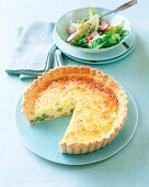 Cheese tart with beans and mixed salad