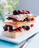 Millefeuille with cream and berries