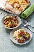 Chicken meatballs on potato-celery puree and lemon chicken with potatoes