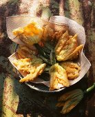 Deep-fried courgette flowers