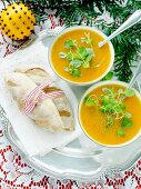 Pumpkin and orange soup with fresh bread