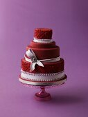 Dark red wedding cake