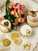 Wedding cakes, cookies and flowers