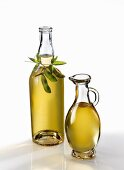 Soy oil in a bottle and carafe