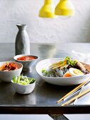 Buckwheat noodles with beef and Nashi pears (Asia)