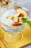 Yogurt with Nectarines in a Stew Bowl