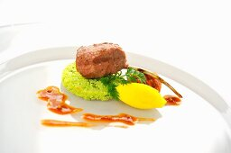 Grilled lamb chop with vegetable puree and mustard sauce