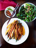 Steamed and roasted vegetables with soy sauce and sesame dressing