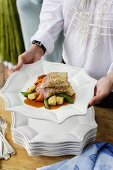 Lamb fillet crepes with vegetables