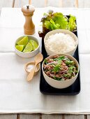 Minced meat with mint, rice and lime