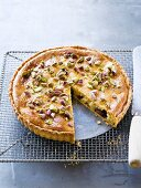 Almond tart with dates and pistachios