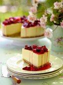 Lemon cheesecake with rhubarb