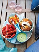 Cold sea food platter with herb yogurt