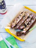 Chocolate and nut bars on a stall at a school fete