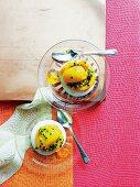 Mango sorbet on passion fruit meringue